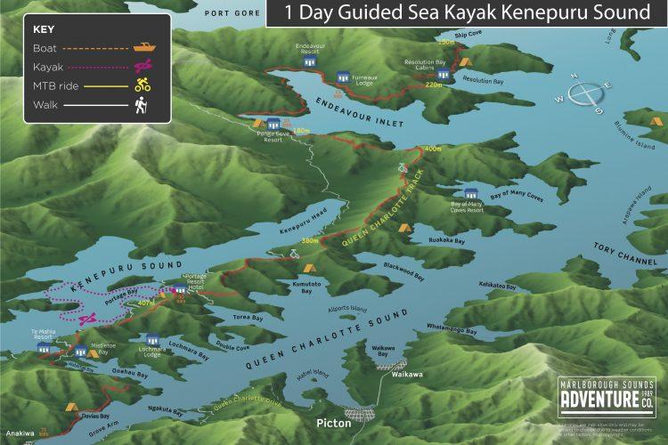 Sea kayak Kenepuru Sound Map