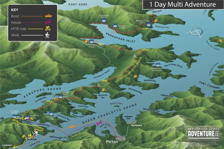 Map One Day Multi-Adventure Queen Charlotte Sound & Track