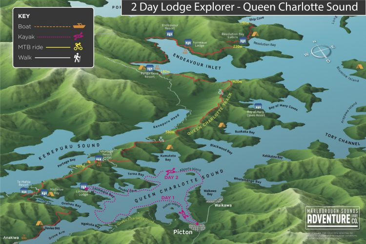 Map of 2 day Lodge Explorer Queen Charlotte Sound Marlborough Sounds NZ