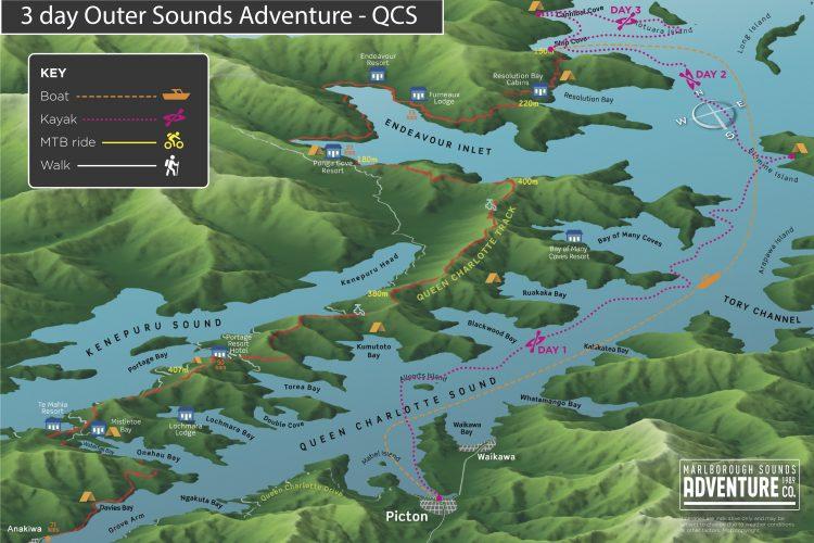 Map 3 day Outer Queen Charlotte Sounds Adventure Marlborough Sounds NZ