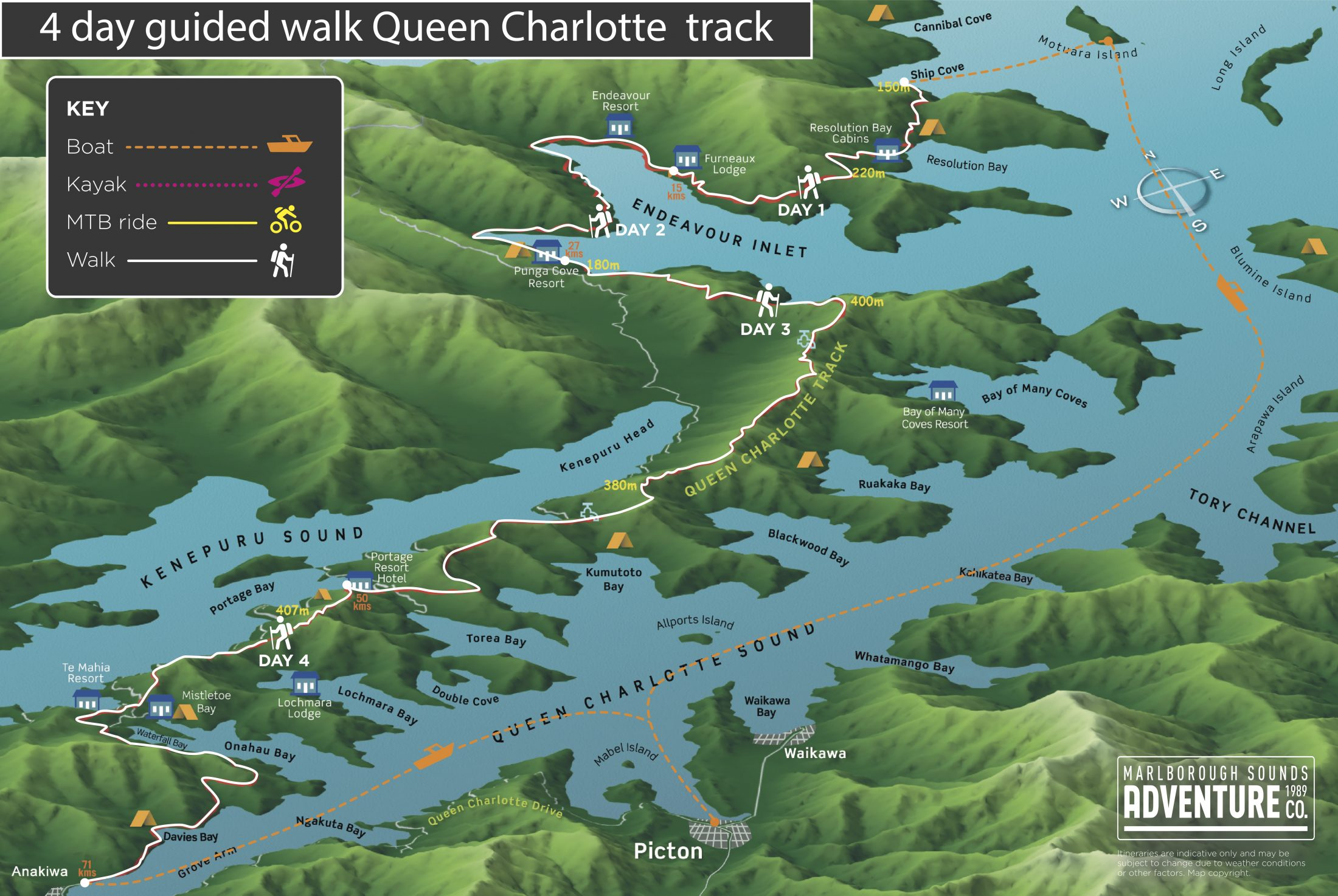 4 Day Guided Walk - Queen Charlotte Track - Marlborough Sounds Adventure