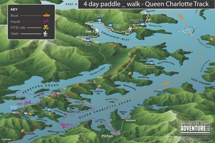Map 4 day Paddle & Walk Queen Charlotte Track Marlborough Sounds NZ